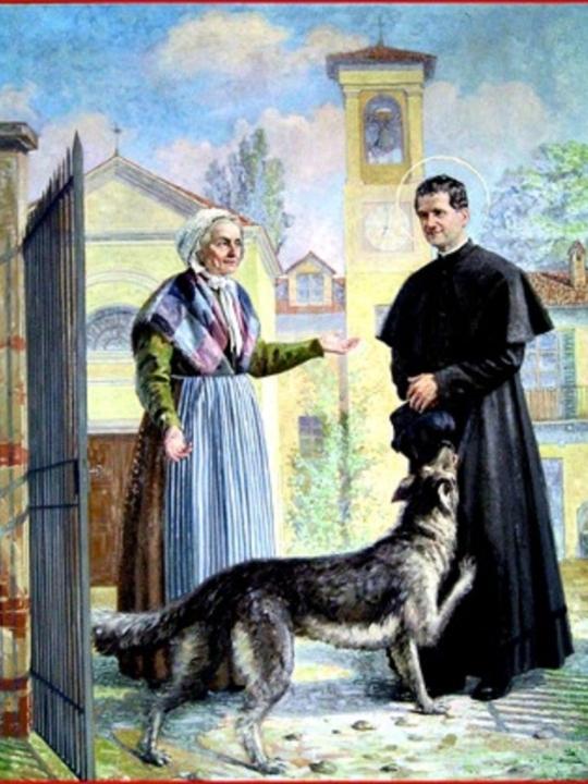 Zeichnung Hund mit Don Bosco und dessen Mutter Margareta