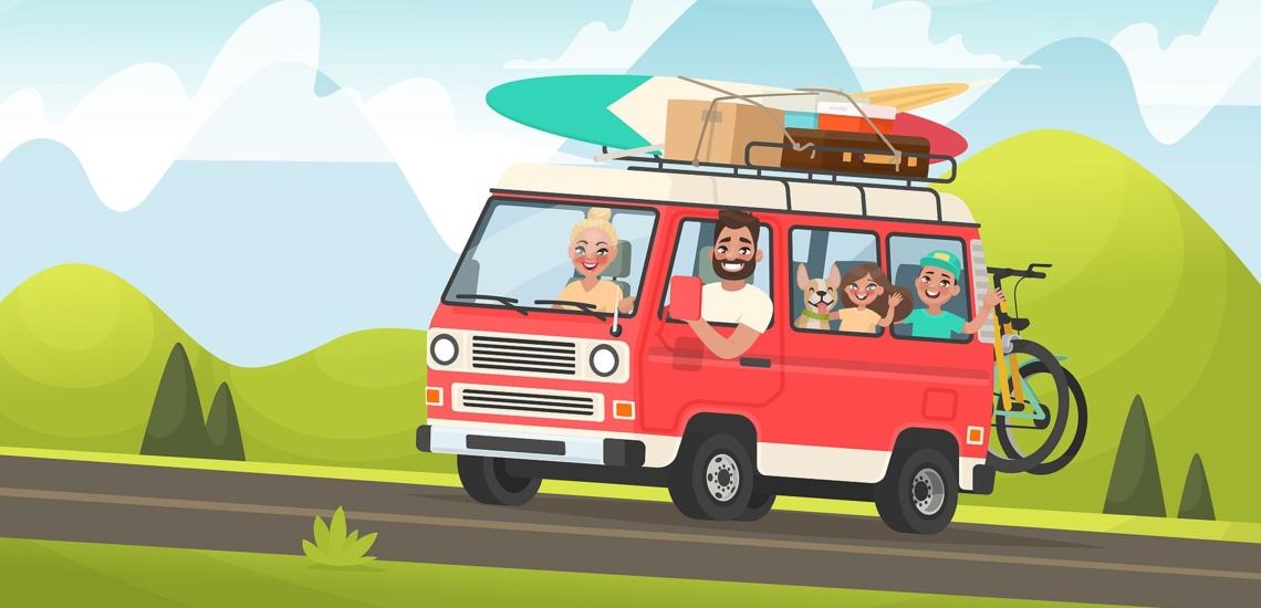 Illustration Familie in Kleinbus mit Hund und viel Gepäck