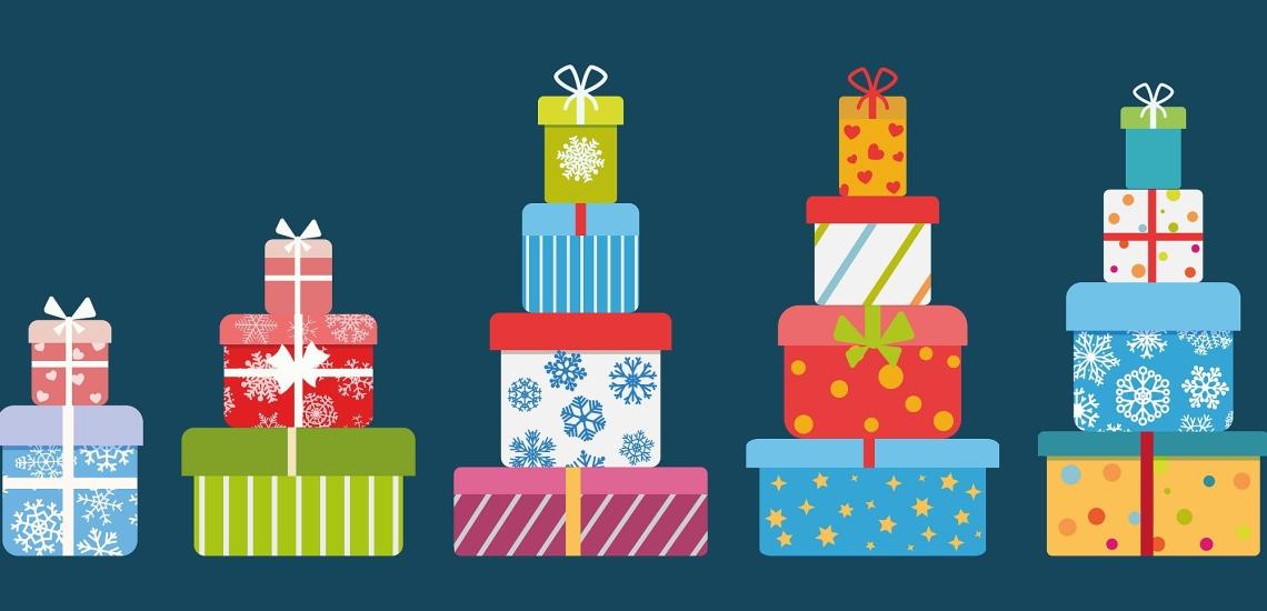 Illustration mehrere Stapel mit Geschenken