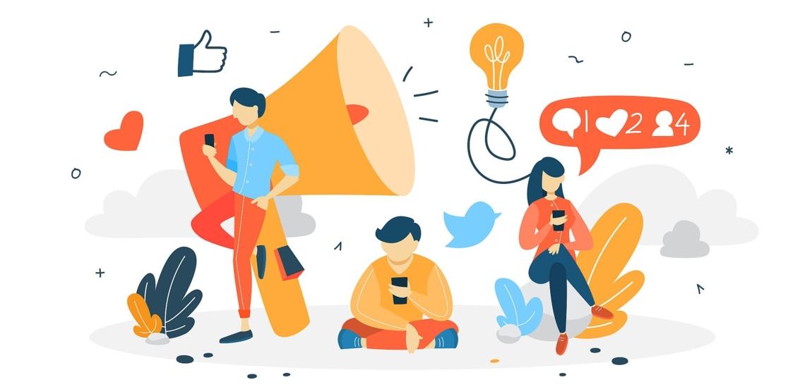 Illustration Jugendliche mit Handys, Lautsprecher und Social Media Icons
