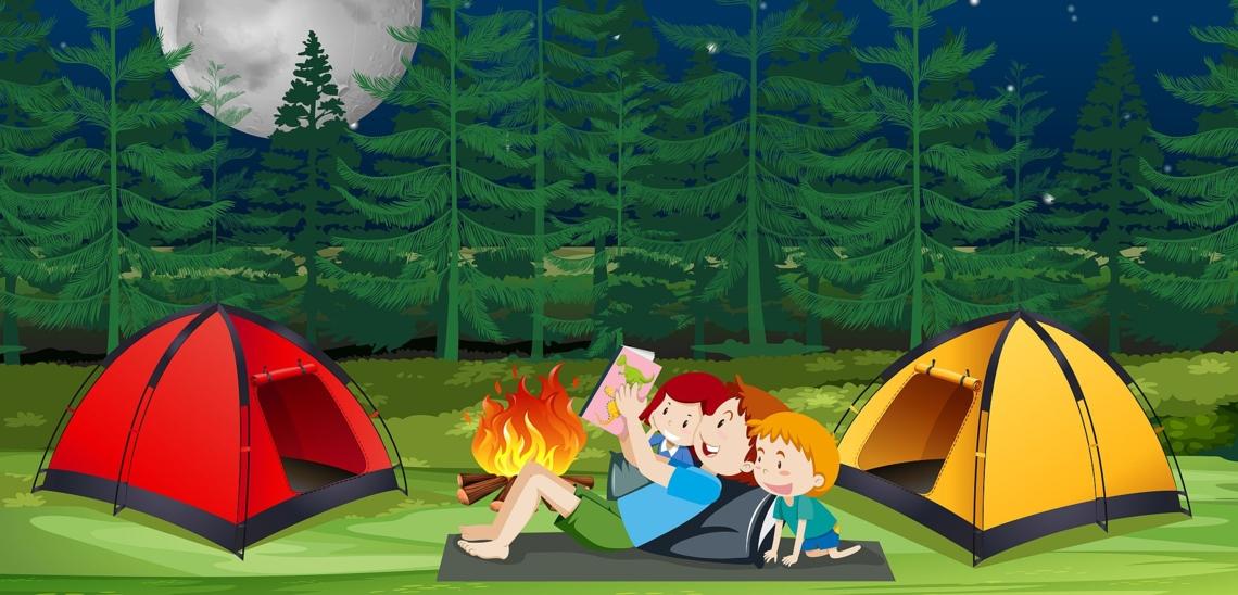 Illustration Familie liegt mit Buch an Lagerfeuer zwischen zwei Zelten