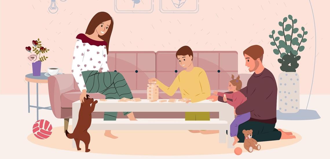 Illustration Familie spielt am Wohnzimmertisch