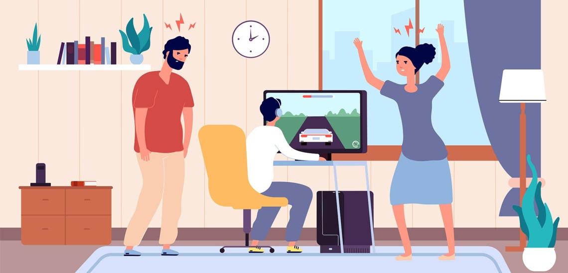 Eltern schimpfen mit Jugendlichen, der vor Computer sitzt