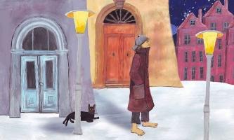 Illustration Mann vor Häusern