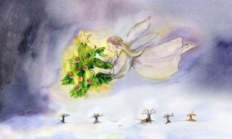 Illustration Christkind trägt Tannenbäumchen