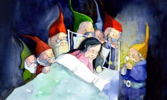 Die sieben Zwerge schauen das schlafende Schneewittchen an