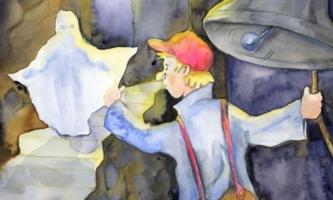 Junger Mann läutet Glocke und sieht Gespenst