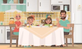 Illustration Familie glücklich beim Essen in der Küche
