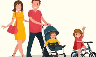 Illustration Mutter Vater Kind und Baby