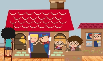 Illustration Kinder in einem Haus