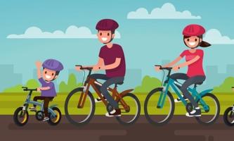 Illustration Familie auf Fahrrädern in der Natur