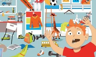 Illustration Junge in mit Gegenständen überfülltem Zimmer