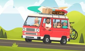Illustration Familie im Kleinbus mit Hund und viel Gepäck