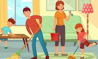 Illustration Familie putzt gemeinsam das Wohnzimmer