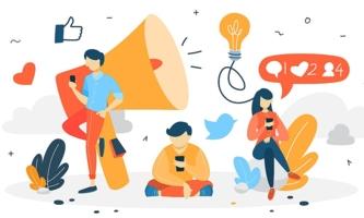 Illustration Jugendliche mit Handys, Lautsprecher und Socia Media Icons