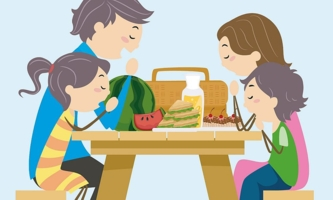 Illustration Familie betet vor dem Essen