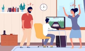 Illustration Eltern schimpfen mit Jugendlichem, der vor Computer sitzt